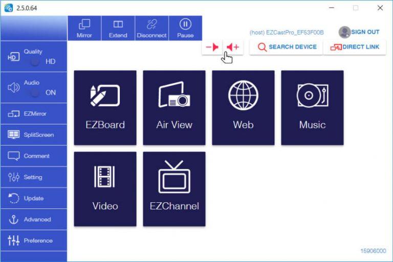 Volume control in EZCast Pro app