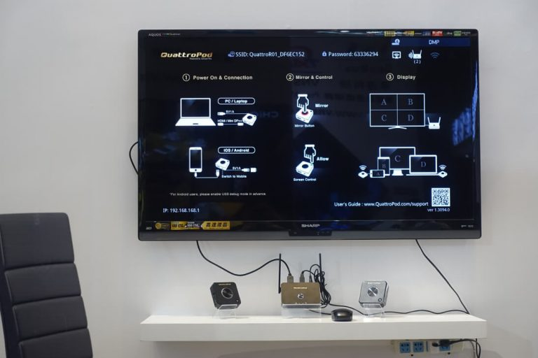 QuattroPod home screen and LCD TV