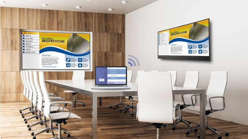 Setup wireless multiple screens in meeting room