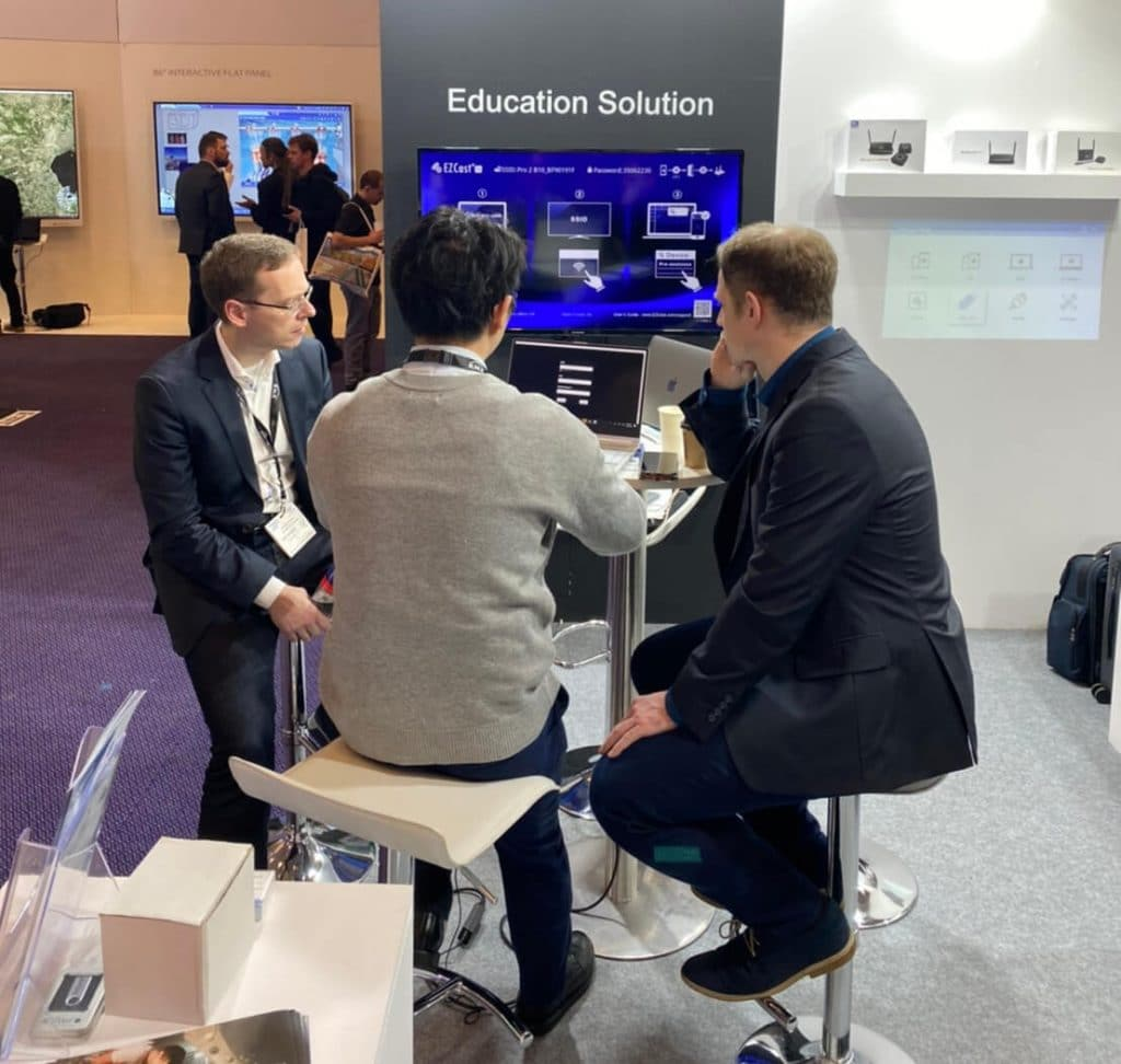 distributor meeting at EZCast Pro booth at ISE 2020